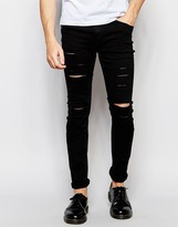 Cheap Monday Tight Slash Jeans Stretch New Black Extreme Rips