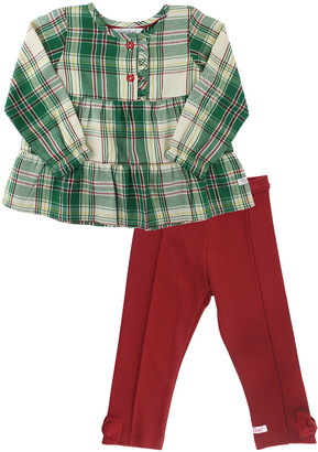 RuffleButts Girl's Plaid Tiered Peplum Top w/ Solid Ponte Pants, Size 0-4T