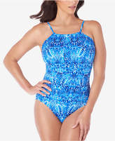Swim Solutions Mastectomy Porcelain Printed High-Neck Tummy-Control One-Piece Swimsuit