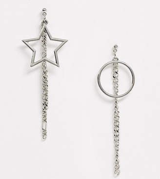 Reclaimed Vintage inspired drop earrings with circle and star