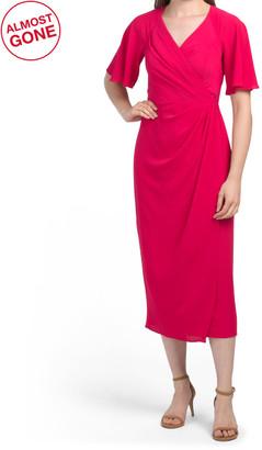 Flutter Sleeve Faux Wrap Midi Dress