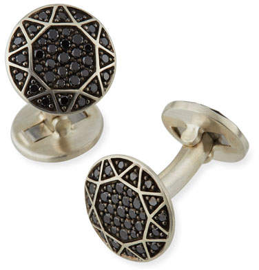 David Yurman Black Pavé Diamond Round Cuff Links
