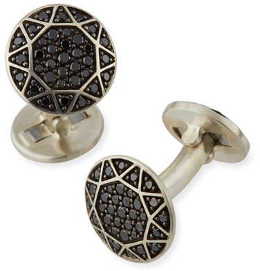 David Yurman Black Pave Diamond Round Cuff Links