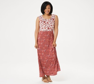 Joan Rivers Classics Collection Joan Rivers Regular Scoop-Neck Floral Print Maxi Dress