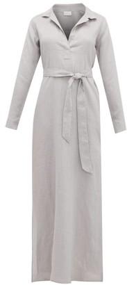 POUR LES FEMMES Open-collar Tie-waist Linen Nightdress - Grey