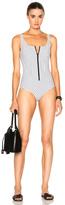 Lisa Marie Fernandez Jasmine Bonded Swimsuit in Geometric Print,White.