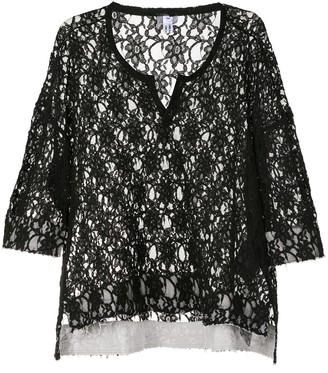 Comme des Garcons Sheer Floral Lace Embroidered Top