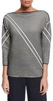 Lafayette 148 New York Pintucked 3/4-Sleeve Striped Sweater, Black Multi, Plus Size