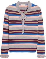 Paul & Joe Elinda Ruffled Striped Wool-blend Sweater - Gray