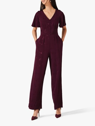 Phase Eight Josie Jacquard Short Sleeve Jumpsuit, Damson