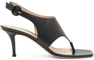 Gianvito Rossi Slingback 70 Square-toe Leather Sandals - Black