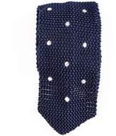 Black Framura Navy Polka Dot Knitted Silk Tie