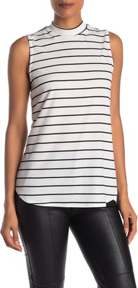 Love, Fire Sleeveless Striped Mock Neck Tunic