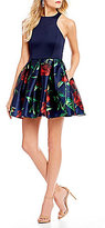 Teeze Me Racer Neck Floral Print Skirt Fit-And-Flare Dress