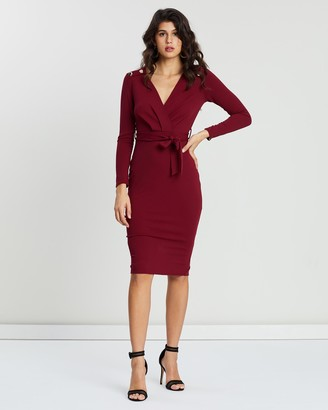 boohoo Button Shoulder Belted Midi Dress