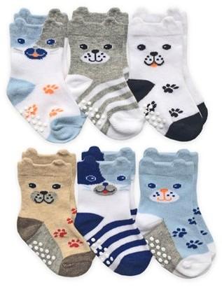 Jefferies Socks Baby Boys Non-Skid 3D Ears Dog Socks, 6-Pack