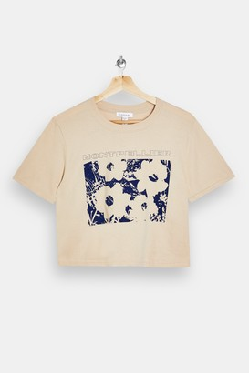 Topshop PETITE Montpellier Floral T-Shirt in White