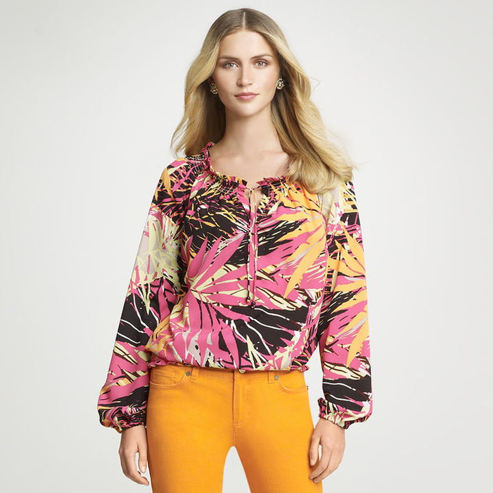Anne Klein Tropical Foliage Print Blouse