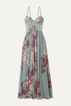 PatBO Lace-trimmed Floral-print Georgette Maxi Dress - Sky blue