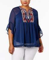 Style&Co. Style & Co Plus Size Embroidered Layered-Look Blouse, Created for Macy's