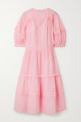 Sea Lucy Tiered Ramie Midi Dress - Pastel pink