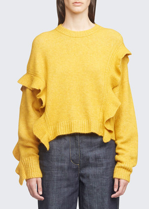 3.1 Phillip Lim Long-Sleeve Lofty Cropped Ruffle Sweater