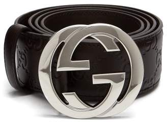 Gucci Gg-plaque Leather Belt - Mens - Brown