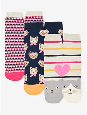 John Lewis & Partners Cats in Glasses Ankle Socks, Pack of 3, Multi
