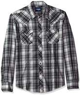 Wrangler Men's Plaid Long Sleeve Two Pocket Snap Shirt