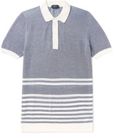 Incotex - Striped Mélange Cotton-piqué Polo Shirt