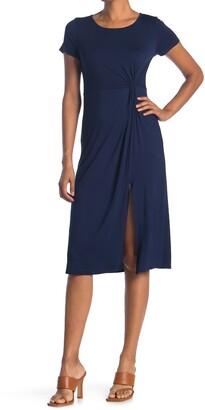 WEST KEI Short Sleeve Twist Front Slit Jersey Midi Dress
