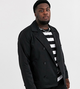 Asos Design DESIGN Plus double breasted pea coat trench-Black