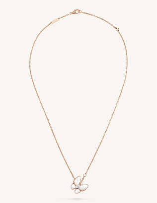 Van Cleef & Arpels Women's Pink Two Butterfly Gold, Diamond And Mother-Of-Pearl Pendant