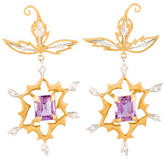 Cathy Waterman Diamond and Amethyst Earrings, 0.50ctw