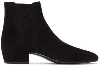 Saint Laurent Black Suede Caleb Chelsea Boots