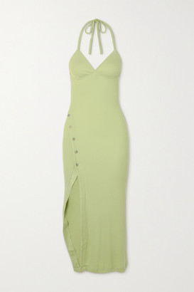 Alix Pierce Ribbed Stretch-modal Jersey Halterneck Midi Dress - Mint