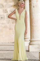 Jovani Deep V Neck and Open Back Long Jersey Dress with Train 22884