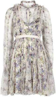 Needle & Thread Lilacs Garland floral-print tulle dress