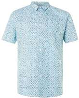 Topman White and Teal Shell Print Short Sleeve Dress Shirt