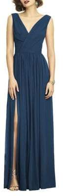 Dessy Collection Full Length V-Neck Lux Chiffon Dress