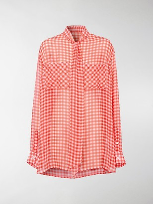 Burberry Gingham Pussy-Bow Blouse