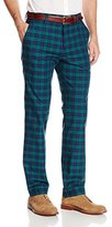 Haggar Men's Vintage Slim Fit Flat Front Navy Plaid Pant