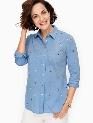 Talbots Classic Cotton Shirt - Penguin Print
