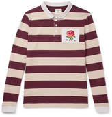 Kent & Curwen Appliquéd Striped Cotton-jersey Polo Shirt - Burgundy