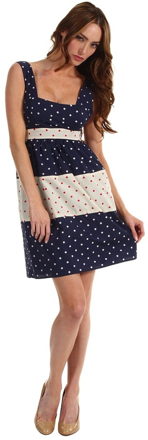 Paul Smith Polka Dot Paneled Dress (Navy) - Apparel