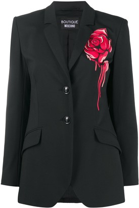 Boutique Moschino Graffiti Rose Print Blazer