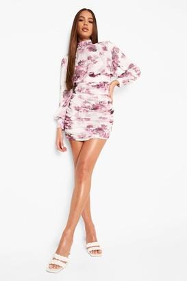 boohoo High Neck Floral Ruched Mini Dress