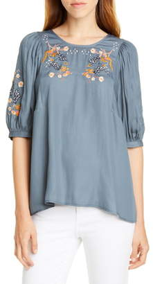 Dolan Nicole Embroidered Woven Top