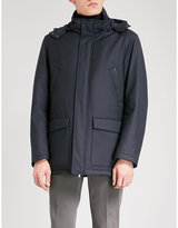 Canali Detachable hood quilted wool-blend jacket