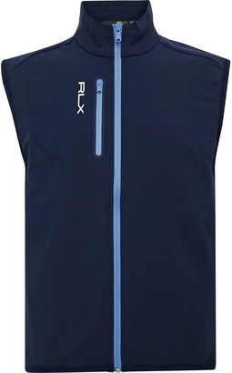 RLX Ralph Lauren Logo-Print Panelled Cotton-Blend Jersey And Tech-Jersey Golf Gilet
